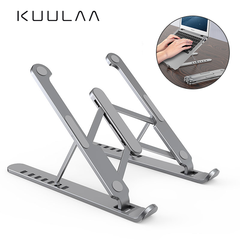 KUULAA Portable Laptop Stand Foldable Aluminum Desk Table Notebook Base Laptop Holder Stand for MacBook Air Pro Mac PC Computer