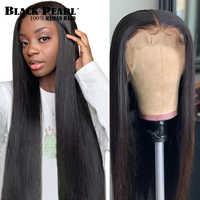 Negro perla 360 Frontal de encaje pelucas de cabello humano 8-30 pulgadas pre arrancado brasileño recto pelucas delanteras de encaje para las mujeres negras