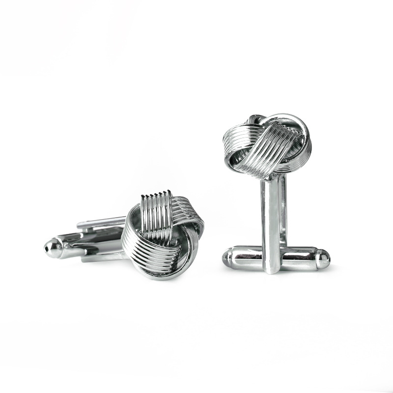 Knot Cufflinks For Men Shirt Cufflinks Silver Gold Color Plated Unique Fashion Business Wedding French Cuff Links