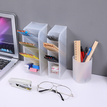 Pen Holder 4 Compartments Eco-Friendly PP Practical Stationery Organizers Desk Storage Box For Pens Pencil Students Good Hepler