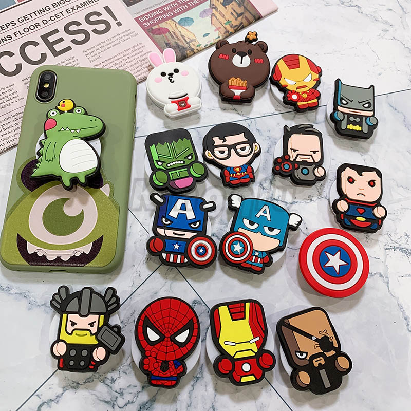 Marvel Cartoon Phone Holder Expanding Stand Finger Holder For Samsung Xiaomi Iphone 7 X Universal Phone Stand Car Holder
