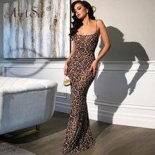 Женское леопардовое платье макси artsu длинное вечернее с u