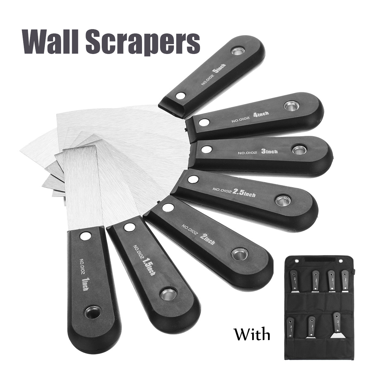 7 Pcs Stainless Steel Putty Knife Scraper Blade 1/1.5/2/2.5/3/4/5'' Wall Shovel Plastic Handle Construction Plastering Tool