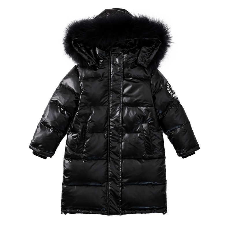 Dzieci zimowe ciepłe białe kurtki z puchu kaczego 2019 dziewczyny odzież wodoodporne ubrania z kapturem długie-25 stopni płaszcze dla dzieci parka
