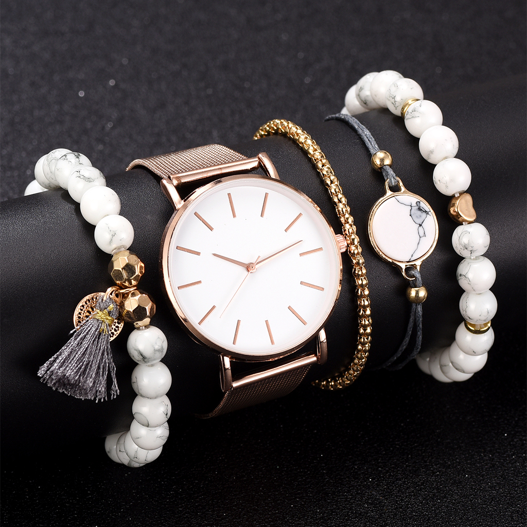 New Fashion Elegant Women Watch 5pcs Set Bracelet Quartz Movement Simple Waterproof Rose Gold Mesh Ladies Watch Relogio Feminino