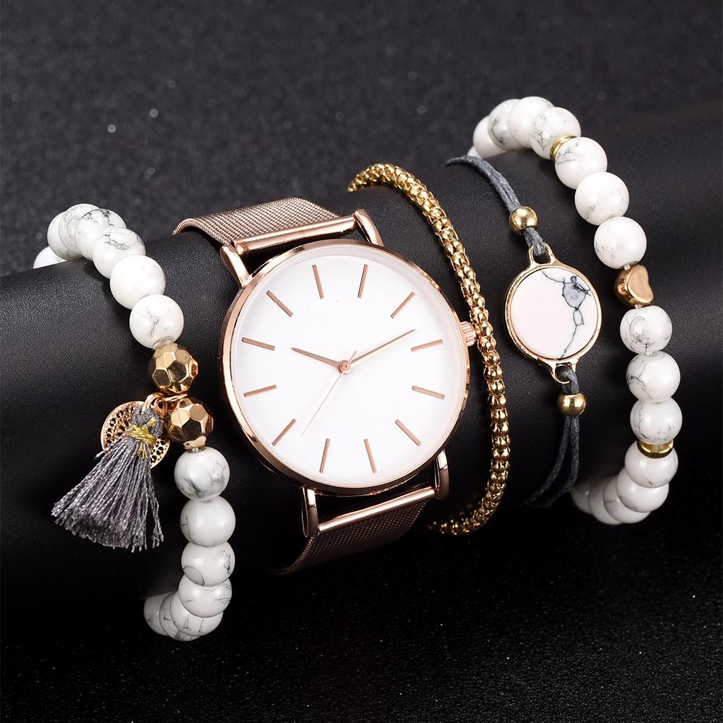 New Fashion Elegant Women Watch 5pcs Set Bracelet Quartz Movement Simple Waterproof Rose Gold Mesh Ladies Watch Relogio Feminino