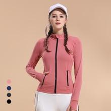 купить New Slim Sports Top Women's Elastic Zipper Running Fitness Long Sleeve Breathable Quick-drying Yoga Jacket дешево