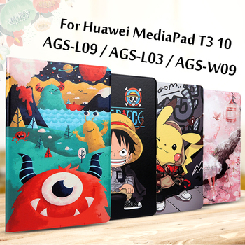 Case For Huawei MediaPad T3 10 Case AGS-W09 AGS-L09 AGS-L03 Slim Folding Stand Flip Cover For Huawei T3 9.6 Case Tablet Funda for huawei mediapad t3 10 ags w09 ags l09 ags l03 digitizer touch screen replacement