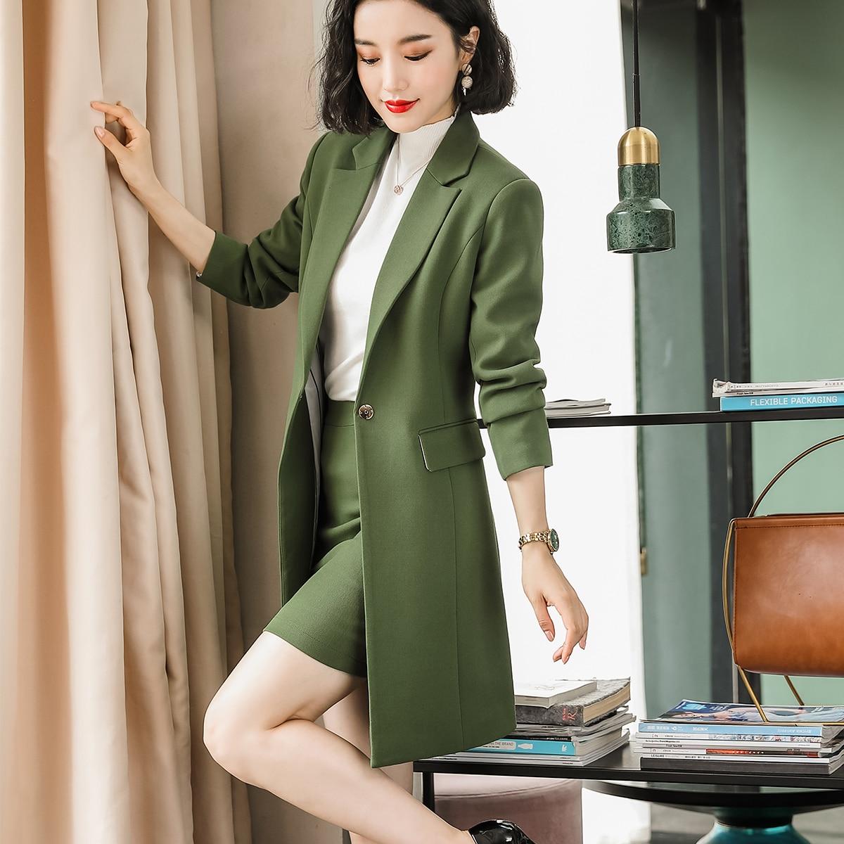 Female Elegant Formal Fall Winter Women Long Blazer Elegant Long Sleeve Formal Jacket Green Red Yellow Apricot Blue CoatClothing