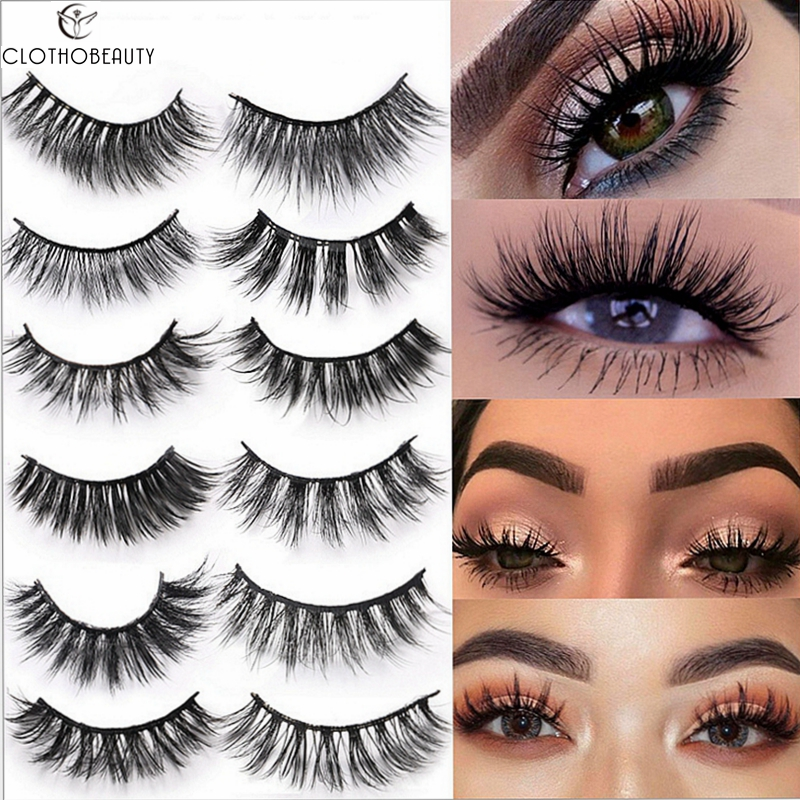 CLOTHOBEAUTY 3D Mink Lashes False Eyelashes Natural 100% Handmade Eye Lashes Long Thick Dramatic Volume Makeup Faux Mink Lashes