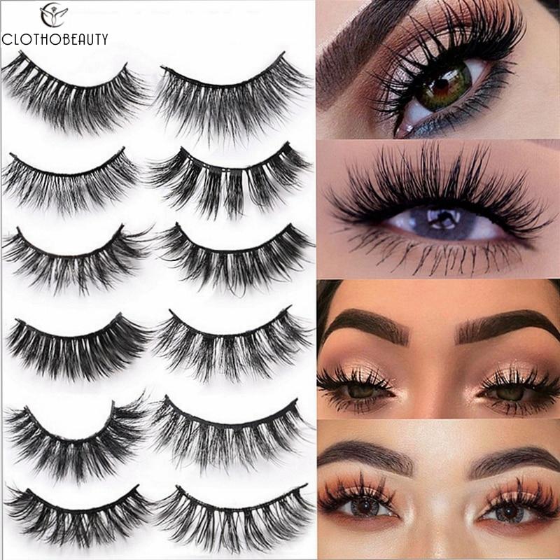 CLOTHOBEAUTY 3D Mink Lashes False Eyelashes Natural 100% Handmade Eye Lashes Long Thick Dramatic Volume Makeup Faux Mink Lashes