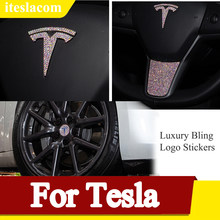 Luxury Bling Car Steering Wheel Cover Trim For Tesla Model 3 S X Y Crystal Front Rear Logo Stickers Auto Accessories Car Styling