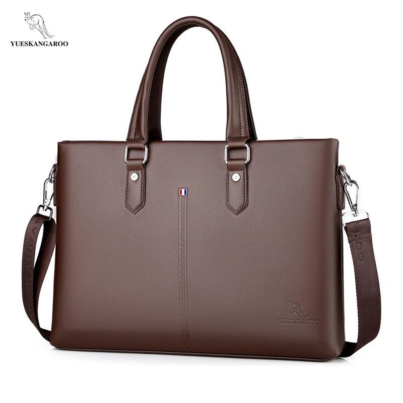 YUESKANGAROO New Leather Men Bags High Quality Laptop Business Crossbody Briefcase Handbag Zipper Shoulder Messenger Bag