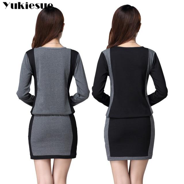 winter office OL dresses for women skinny women's dress long sleeve black maxi party long sexy bodycon dress female Plus size 3