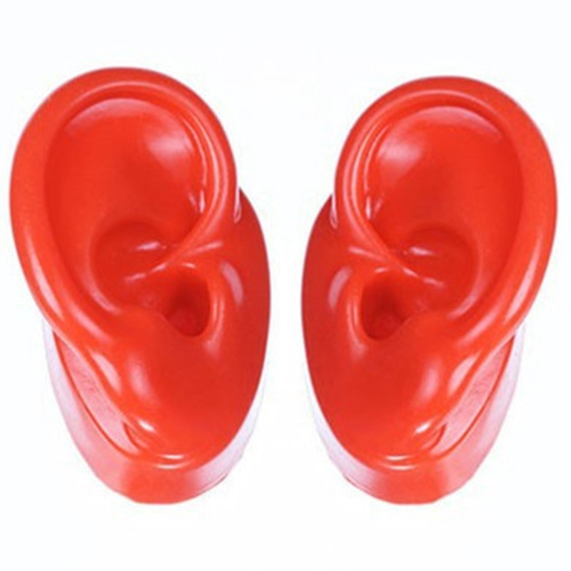 1 Pair Silicone Ear Model Soft Adult Simulation Ears For Hearing Aid Shop Window Display (1 Left Ear + 1 Right Ear)