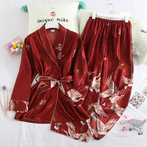 Image 3 - 봄 가을 여성 잠옷 바지와 함께 설정 섹시한 실크 숙녀 새틴 nightwear 가운 pijama 긴 소매 잠옷 파자마 femme