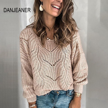 DANJEANER Sweater Ladies Crew Neck Cutout Knitted Jumper Pullovers Women Casual Solid Slim Fit Sweaters Thin Autumn Tops danjeaner long sleeve sweaters women 2018 autumn sexy off shoulder wrap knitted sweaters tops v neck slim pullovers jumper shawl