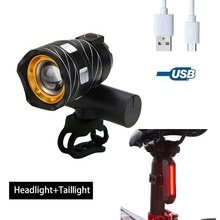 T6 LED Bicycle Flashlight Front Light Outdoor Bike USB Rechargeable  Bike Lamp Cycling Headlight Taillight oloey bicycle light t6 led 5200mah headlight lamp usb rechargeable front light night cycling waterproof bike light flashlight