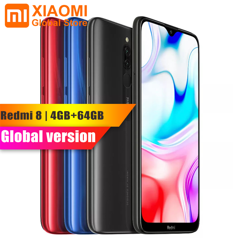"Original New Global Version Xiaomi Redmi 8 4GB RAM 64GB ROM 6.21"" Mobile Phone Snapdragon 439 Octa Core 12MP Dual Camera 5000mAh"