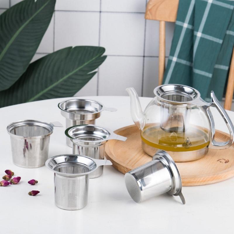 Reusable 304 Stainless Steel Mesh Infuser Tea Strainer Teapot Loose Tea Leaf Spice Kitchen Accessories Handle Clip