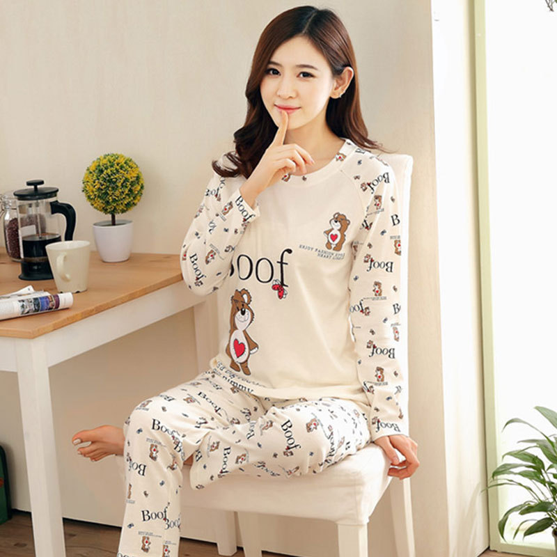 New Products Cartoon Care Bears Long Sleeve Pajamas Women's Spring And Autumn Thin Plus-sized Homewear Set