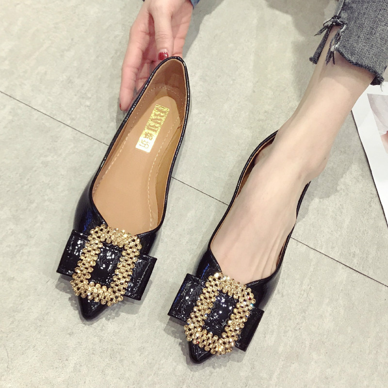 Shoes Woman Pointed-Toe High-Heels Fashion Ladies Crystal Casual Flat Spring Shallow