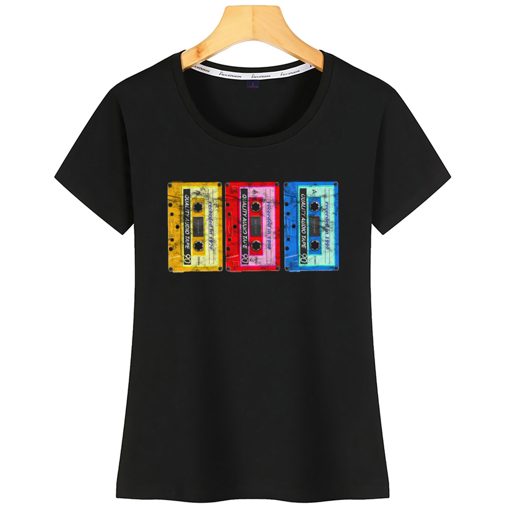 Tops T Shirt Women 90s Mixtape Outfit 90s Music Party Costume Retro Cropped Comic Black Short Tshirt image
