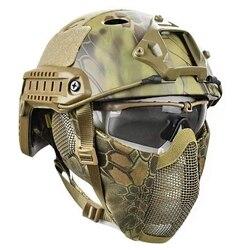 Casco táctico, máscara, gafas Cs Airsoft Paintball, juego de guerra de ejército, motocicleta, caza, Color sólido, casco rápido