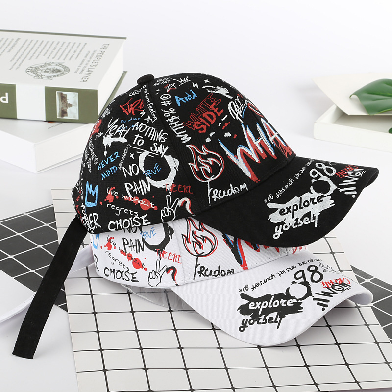 2020 Baseball Caps Graffiti Printing Baseball Cap Outdoor Cotton Shade Hat Men Women Summer Caps Adjustable Letter Cool Hat