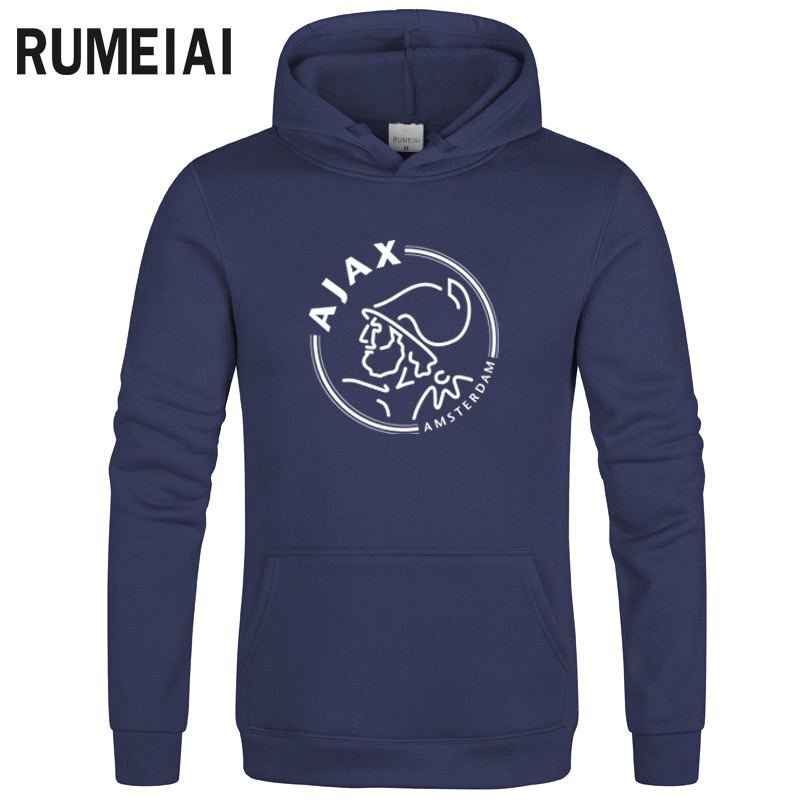 Ajax Hoodies Men's Thick Clothes Winter Sweatshirts Men Hip Hop Streetwear Solid Fleece Hoody Man Clothing
