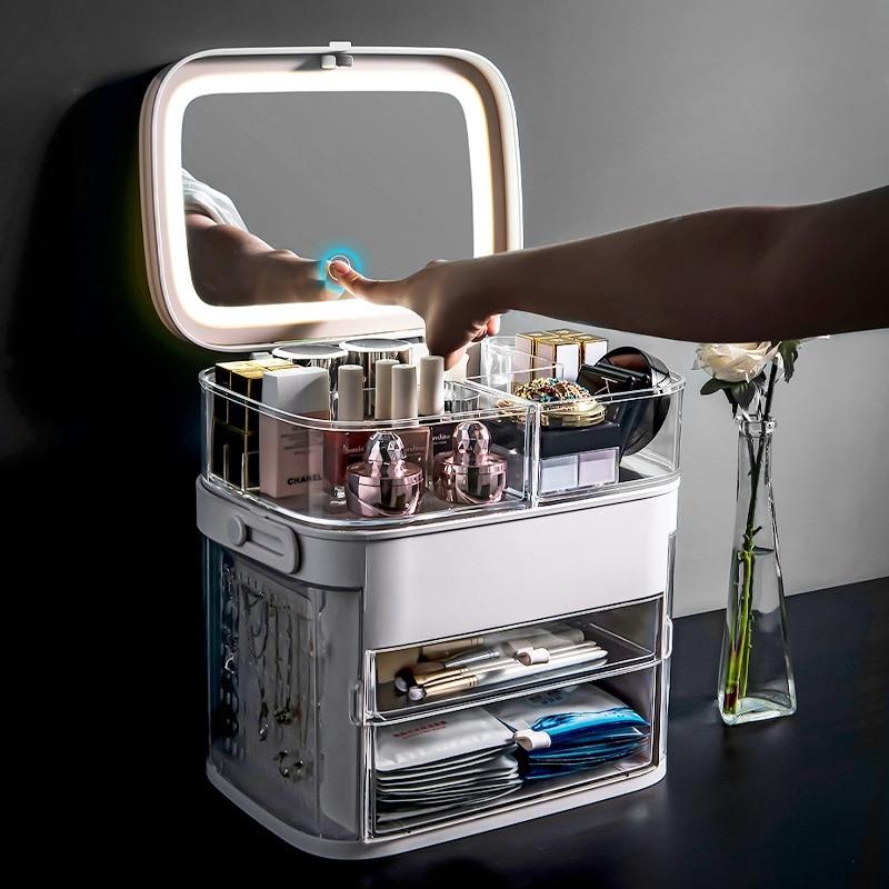 Organizador portátil para maquiagem com espelho led, caixa de armazenamento de cosméticos para maquiagem, recipiente, embalagem para banheiro
