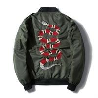 2019 Men's Military Flight Bobmer Jacket Fashion Design Embroidery Serpentine Spring Jacket Coat Men's Punk Coats