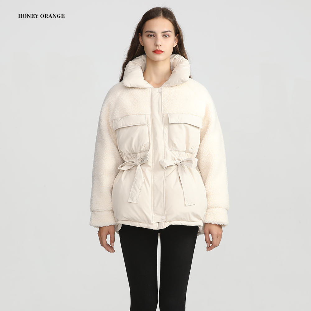 women's down coat winter short down jacket female with <font><b>belt</b></font> warm thick slim drawstring sashes lady's parka snow outwear image