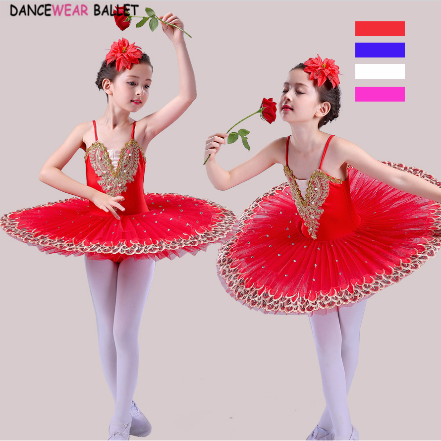 Professional Ballet Tutu Child White Swan Lake Costume Red Blue Pink Ballet Dress For Kids Dance Pancake Tutu Girls Dancewear