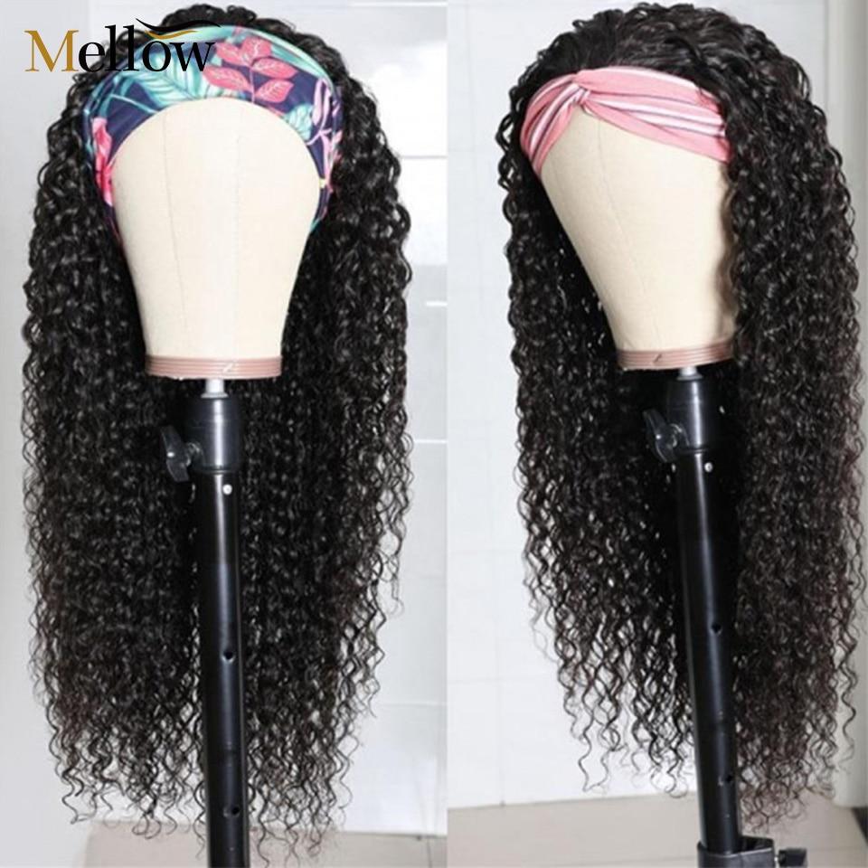 Rizado peluca con diadema de pelo humano 180 de densidad Jerry Curl pelucas brasileño máquina pelucas de diadema para las mujeres negras