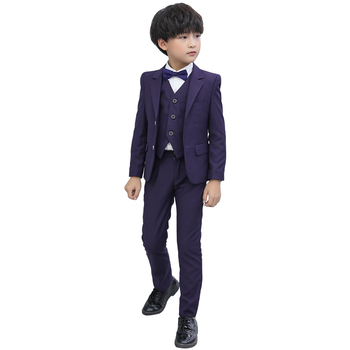 New Flower Boys Tuxedo Suit for Weddings Children Formal Blazer Solid Jacket Pants Bowtie Kids Gentleman Party Host Clothing Set