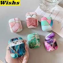 Fashion rose gold line geometric marble Earphone Headset Accessories IMD case For Airpods 1&2 Wireless Bluetooth Headset bags(China)