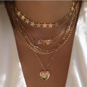 Bohemian Multi Layer Star Choker Necklace Set for Women Punk Sweet Love Heart Pendant Necklace Statement Couple Jewelry Gift