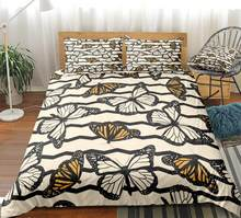 3pcs Butterfly Duvet Cover Set Animal Bedding Kids Boys Girls Stripe Quilt Cover White Yellow Bed Set Black King Dropship Queen(China)