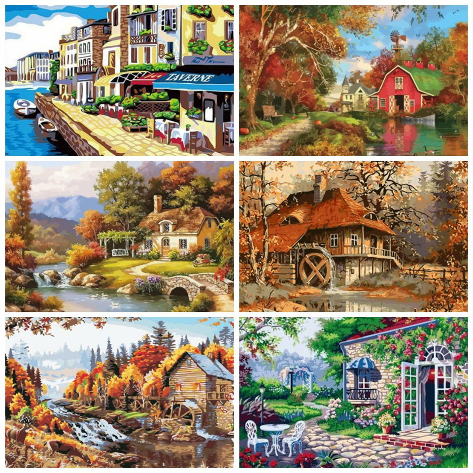 AZQSD 40x50cm Paint By Numbers Canvas Painting Kits Scenery DIY Acrylic Kids Paint Oil Painting By Numbers Home Decor