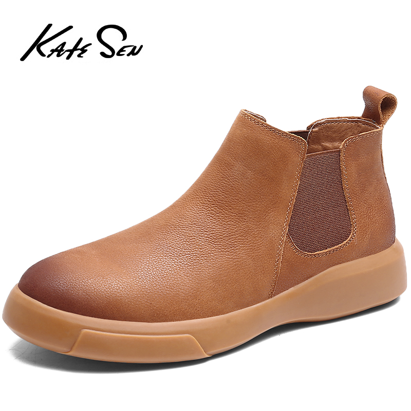 KATESEN Autumn Winter Plush Warm Genuine Leather Men Boots All Season Work Shoes Man Ankle Boot With Fur Outdoor Chelsea Boots