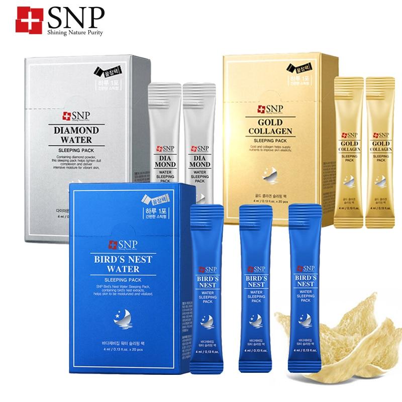 Korea SNP Overnight Recovery Sleep Mask Birds's Nest Water Sleeping Night Gel Cream 3 Types Mask Anti Aging Repair Brightening