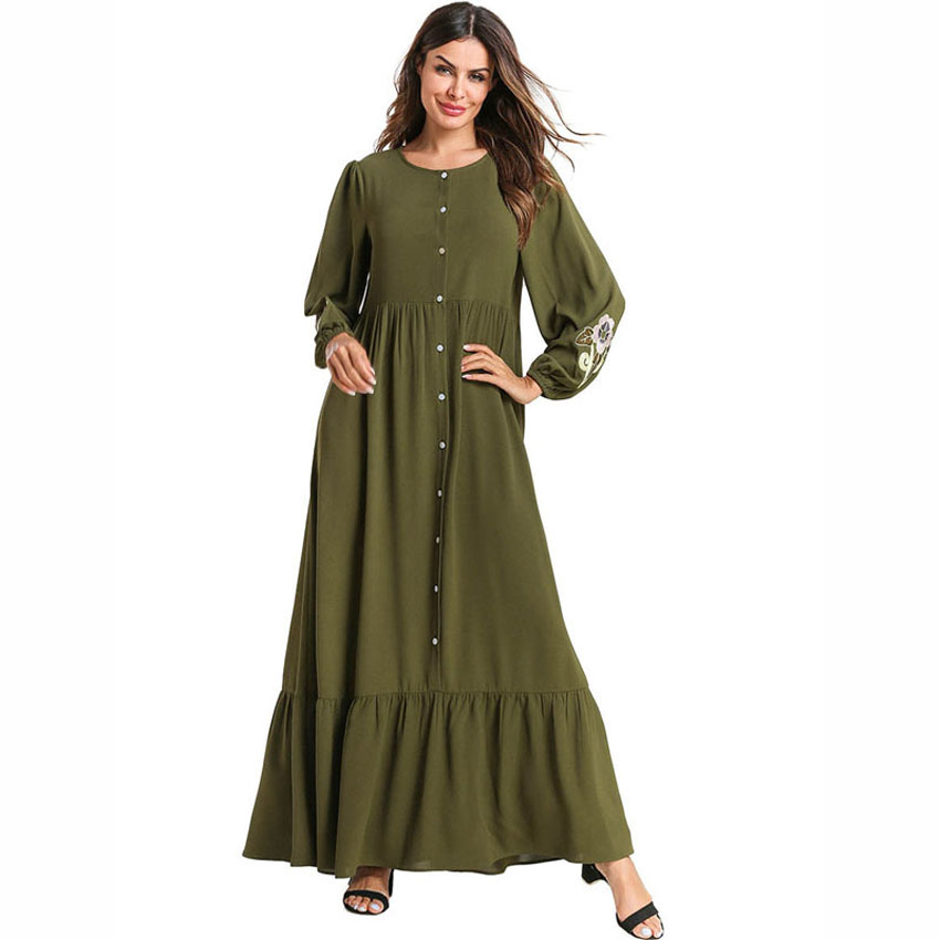 Plus Size Loose Muslim Abaya Dress Pregnant Women Nursing Cardigan Green Embroidery Elegant Full Sleeve Islamic Clothing