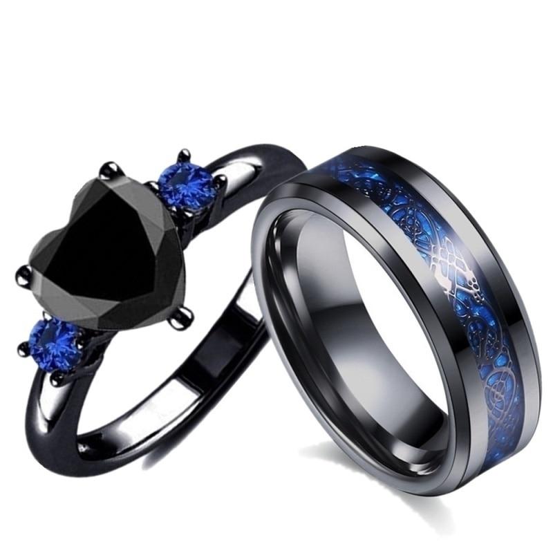 Popular Couple Romantic Couple Ring Fashion Jewelry Anniversary Wedding Black Heart Cubic Zirconia Ring Set Lover Gift