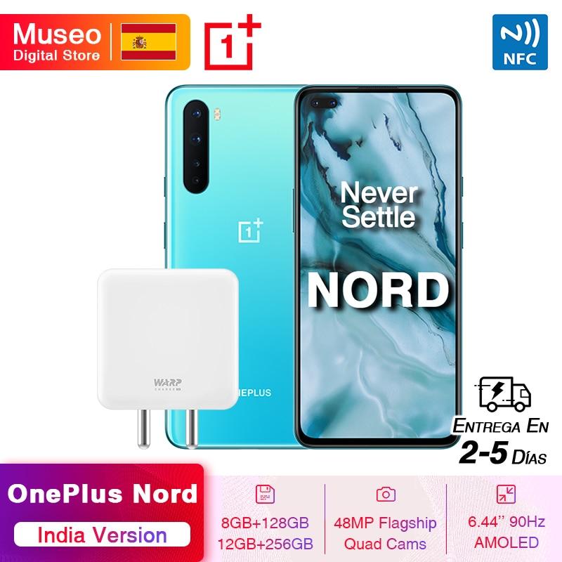 "Versión India OnePlus Nord 5G Smartphone Snapdragon 765G 8GB 128GB 6,44 ""90Hz Pantalla AMOLED 48MP Quad trasero cámaras 30W NFC"