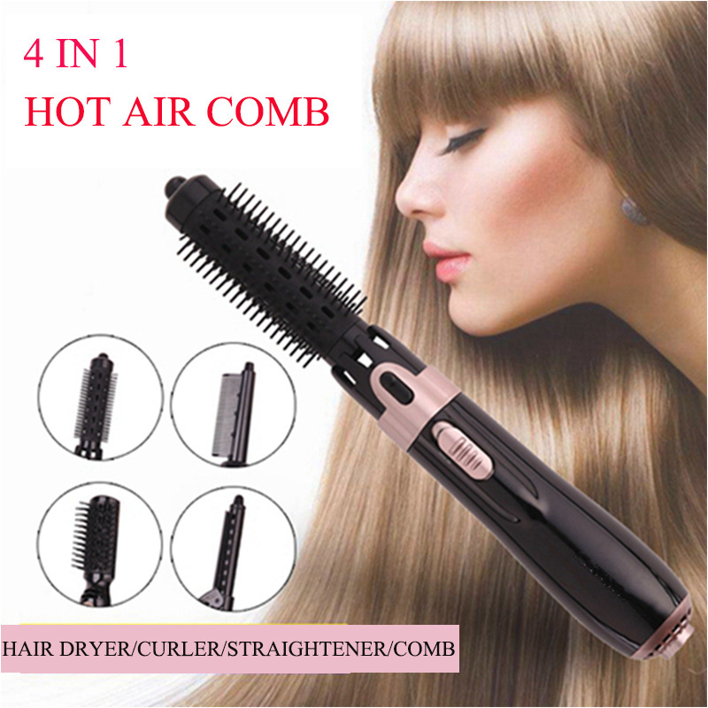 4 In1 Hot Air Comb Hair Comb Negative Ion Hair Straightener Comb Hair Curler Comb Styling Comb Hair Brush For Dry And Wet