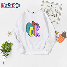 Childrens Sweater Pullover o Neck Tops Cartoon Children Autumn Winter New Child Clothing Kids Hipster Clothes Letter Printing Ok