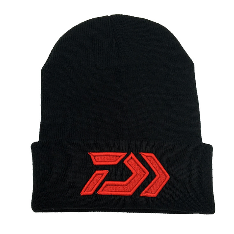New Daiwa Autumn Winter Fishing Embroidery Hat Fishing Knitting Hood Outdoor Warm Winter Cap Thermal Warm Hat for Outdoor Sports