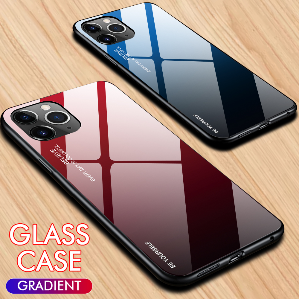 Gradient Painted Case For iPhone 11 Tempered Glass Cover Pro Xs X XS 7 8 6S Plus Max