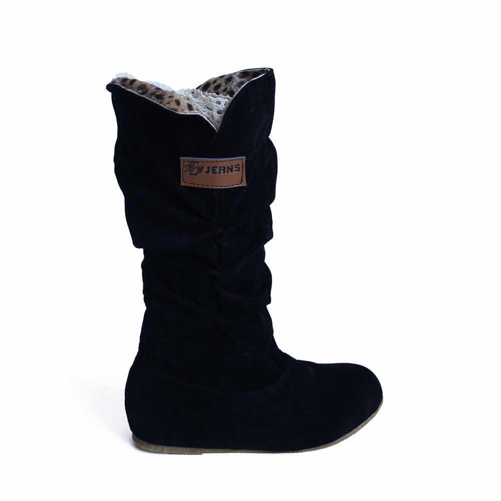 Frau Kniehohe Stiefel Keile Stiefel Plattform Casual schuhe Flache Ferse Nubuk Motorrad Boot Herbst Winter Schuhe Sexy Lange Stiefel